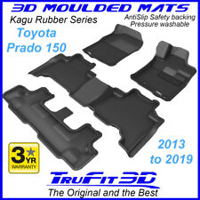 Suits Toyota Land Cruiser Prado 150 2013 - 2019 Black Rubber 3D Floor Mats