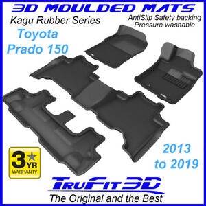 Fits Toyota Land Cruiser Prado 150 2013-2021 3D Kagu Black Rubber Floor Mats 3Rw
