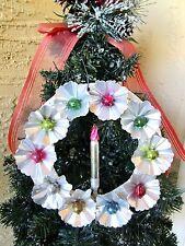 Vintage Foil Rosettes & Lrg Mercury Glass Beads & Candle Xmas Wreath Rare Japan