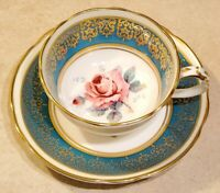 PARAGON Antique Teacup & Saucer RARE! Demitasse with CABBAGE ROSE Double Warrant