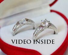 Lab-Created Excellent Sterling Silver Fine Diamond Rings