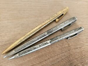 SHEAFFER Sterling Silver Ballpoint Pens & Mechanical Pencil Made in USA -VINTAGE