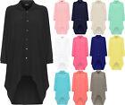 Ladies Womens Button Hi Lo Long Sleeve Collared Chiffon Shirt Dress Top 10-22
