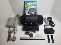 Nintendo Wii U 32gb Black Deluxe Console Bundle 1 game Nintendo Land  gamepad!