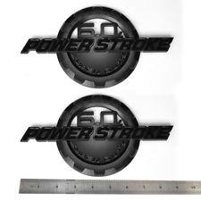 2x OEM Black 6.0L Powerstroke Emblem POWER STROKE SUPER DUTY Badge F Ford F250