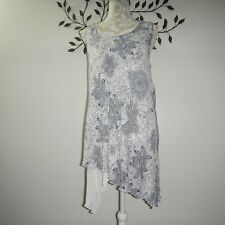 Soft Surroundings Womens Black White Floral Layered Scalloped Sleeveless Top XL
