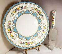 Crown Staffordshire Cake Plate With Server Tunis Blue England