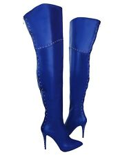 CQ COUTURE CUSTOM NEW STUDS OVERKNEE BOOTS STIEFEL STIVALI LEATHER BLUE BLU 35