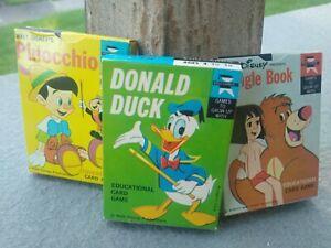 3 packs Donald Duck Jungle Book Pinocchio Card Game Ed-U-Cards