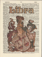 Zodiac Sign Libra Astrology Altered Art Print Upcycled Vintage Dictionary Page