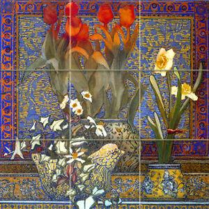 Art Vivid Accent Flowers Mural Tumbled Marble Kitchen Backsplash Tile #191