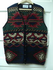 "SHARON YOUNG ""WINTER INDIAN BLANKET"" SWEATER VEST, SIZE LARGE - NWT"