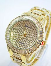 Men's Gold Plated Round Geneva Platinum Bling Iced out Wrist Watch