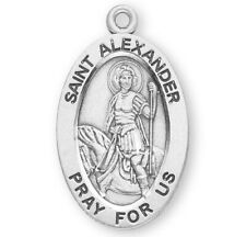"""Saint St Alexander Sterling Silver 7/8"""" Oval Medal w 20"""" Chain - Boxed"""