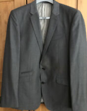 Mens Next Grey Suit Trousers 34L Slim Fit, Jacket 42R Good Condition Hardly Worn