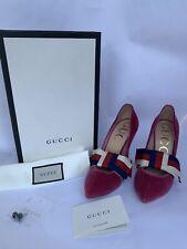 NIB Gucci Sylvie Web Velvet Raspberry Pink Pumps  37