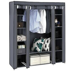 "69"" Portable Clothes Closet Wardrobe Storage Organizer with Non-Woven Fabric Qui"