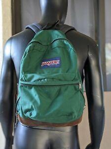 JANSPORT Backpack Vtg 1994 Suede Leather Bottom School Book Bag Green Daypack