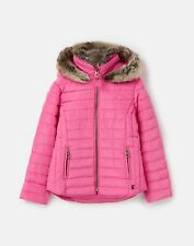 Joules Girls 213234 Padded Coat With Fur Collar - Carmine Rose