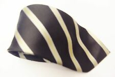 Giorgio Armani Black With A Silver / Grey & Light Gold Stripe Design Silk Tie