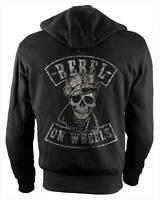 Rebel On Wheels Biker-Hoodie Motorrad-Hoodie Aramid Brando Skull Uni Schwarz