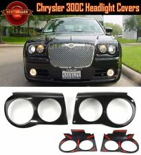 ABS Tape on Pair Black Headlight Covers Bezel Eyelids For 05-10 Chrysler 300C