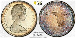 1967 CANADA GOOSE SILVER DOLLAR PCGS MS63 GEM COLOR UNC GORGEOUS TONED