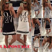 BOHO Ladies Cotton Casual Long Tops Blouse Summer Womens Love Printed Mini Dress