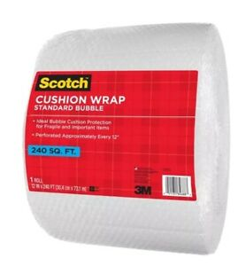 NEW 3M Scotch 3/16 Bubble Cushion Wrap 240 sq ft Roll Perforated