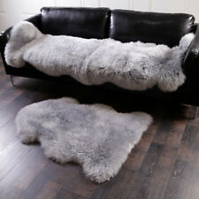 Faux Sheepskin Chair Cover Pad Skin Carpet Fluffy Fur Bedroom Rug Silver Gray