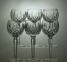 "WATERFORD CRYSTAL""LISMORE"" CUT WINE HOCK GLASSES SET OF 6 - 7 1/2"" TALL"