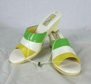 NOS Vtg 70s Butterflies Brand Vinyl Slide Sandals Green Yellow White Size 9