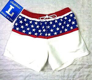 NWOT Chubbies Originals USA American Flag Swim Trunks Shorts Mericas Mens LARGE