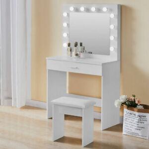 White Dressing Table Modern Makeup Desk LED Light Mirror&Drawer,Stool Bedroom