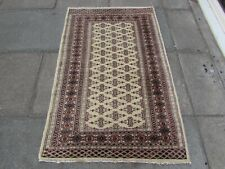 Vintage Traditional Hand Made Pakistan Oriental Wool Cream Beige Rug 150x95cm