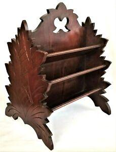 desk caddy, c1880 Naturalistic Victorian, walnut, stylized leaf motif, 13.5t