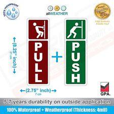 (1 Pair) Push & Pull Single Door Sign Sticker Vinyl Single-Side (Not-Laminated)