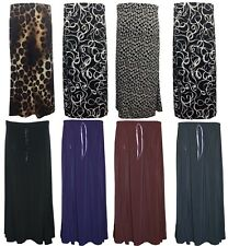 New Womens Ladies Plus Size Plain Printed Stretch Flared Maxi Skirt 14 TO 28