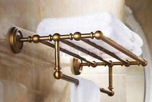 Antique Brass Bathroom Towel Rail Holder Rack Bar Shelf Wall Mounted mba087