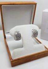 white gold finish created diamond round cut huggie hoop earrings free postage