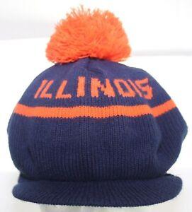Vintage 1980s Go Illinois Fighting Illini Beanie Winter Hat Knit Cap Adult 1 Sz