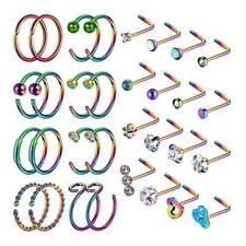 32× Nose Hoop Ring L-Shaped Studs Surgical Steel Bar Lip Ear Piercing Rings 20G