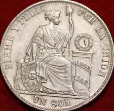 1885 Peru Un Sol Silver Foreign Coin