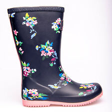 Joules Girls Wellies Roll Up Blue Flowers  Different Sizes