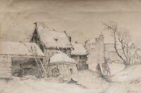 Unleserlich signiert - Dorfansicht - Bleistiftzeichnung, weiß gehöht - 1857