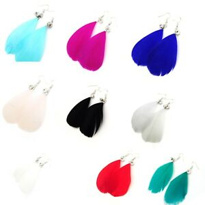 Single Feather Earrings With Crystal Fish Hook Fastener UK