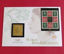 2002 ROYAL MINT GOLDEN JUBILEE HALLMARKED SILVER PROOFLIKE STAMP INGOT- cover