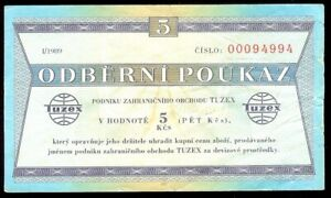 Czechoslovakia Tuzex Bon 5 Korun 1989 VF Scarce Coupon
