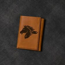 Men's Horse Abstract -1 Natural Genuine Leather Blocking Trifold Wallet MHLT_07