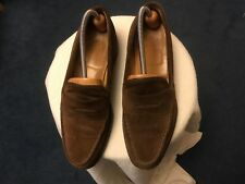 CHEANEY men's brown suede slip on leather soles HOWARD loafer shoes size 8/42